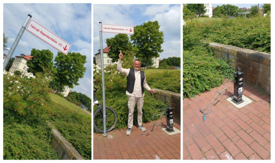 Kai Holm bei der Fahrrad-Reparaturstation Hameln