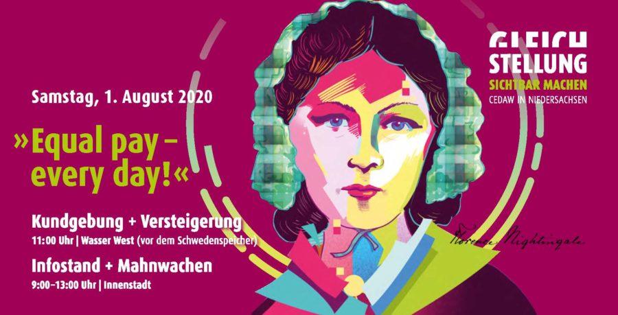 Flyer der Hansestadt Stade zum Equal Pay Day am 1. August 2020