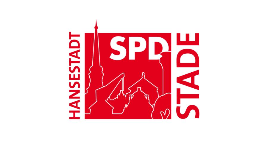 Logo der SPD Stade mit der Silhouette der Stader Altstadt, Oktober 2020