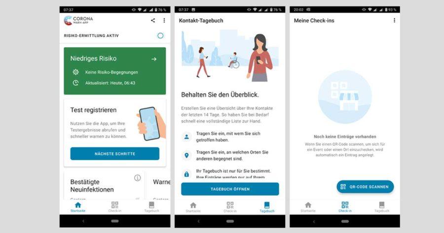 Screenshots der Corona-Warn-App des RKI zur Risikoermittlung, Kontakt-Tagebuch und persönliche Check-ins