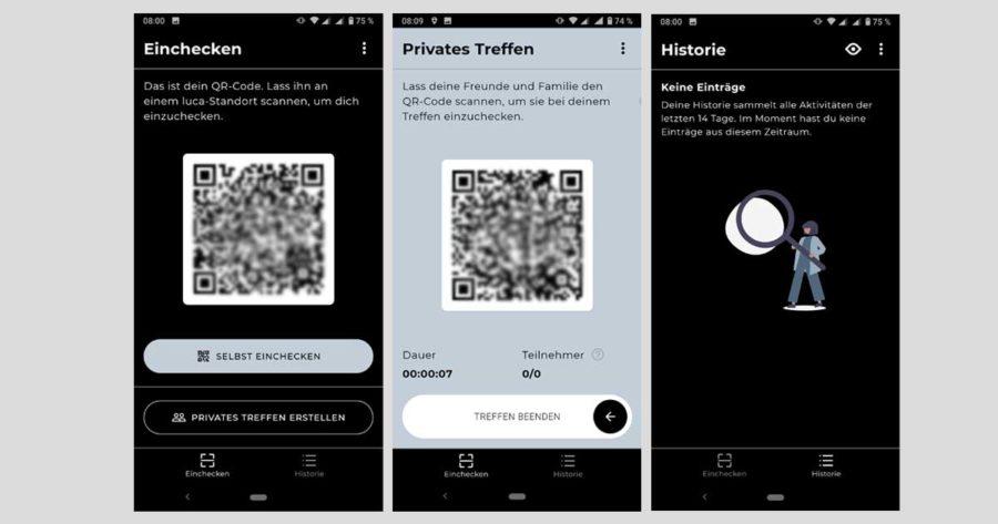 Screenshots der Luca-App beim Einchecken, QR-Code für private Treffen und von der Historie