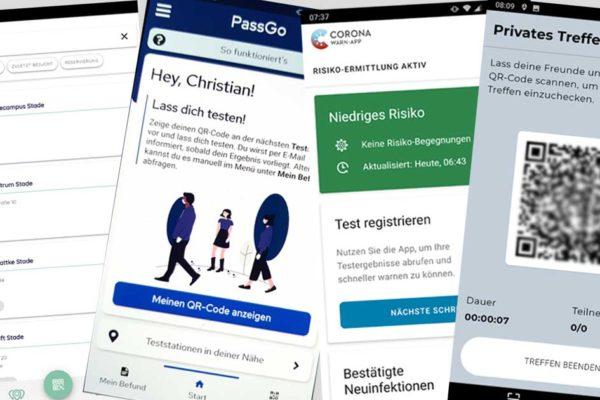Screenshots der Apps Corona-Warn-App, Luca-App, ePassGo und eGuest