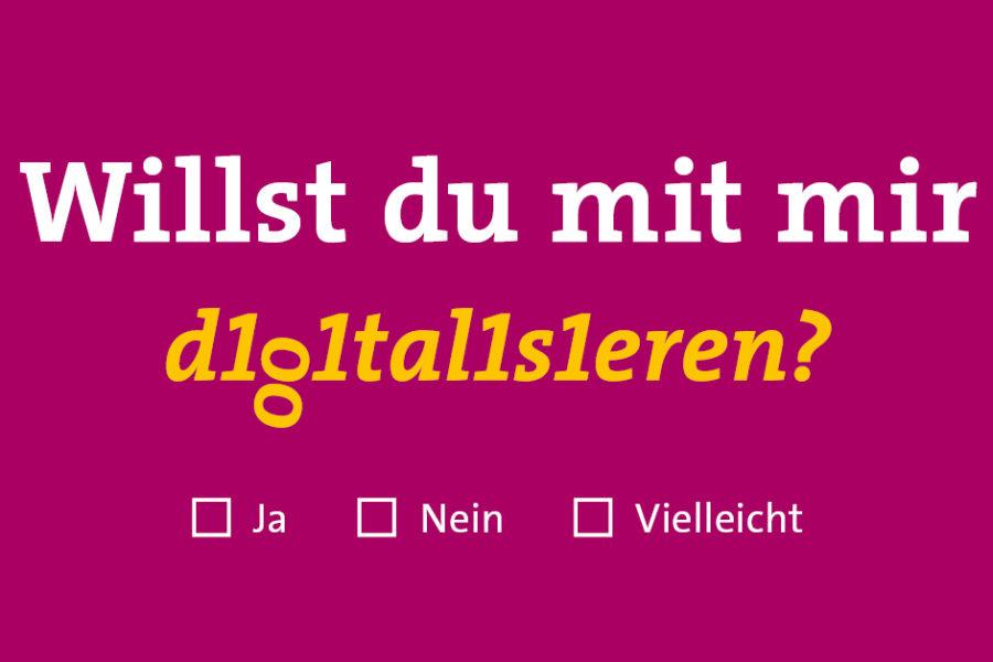 """Digitaltag 2021 mit Postkartenspruch """"Willst du mit mir digitalisieren?"""" - Ja, nein, vielleicht?"""