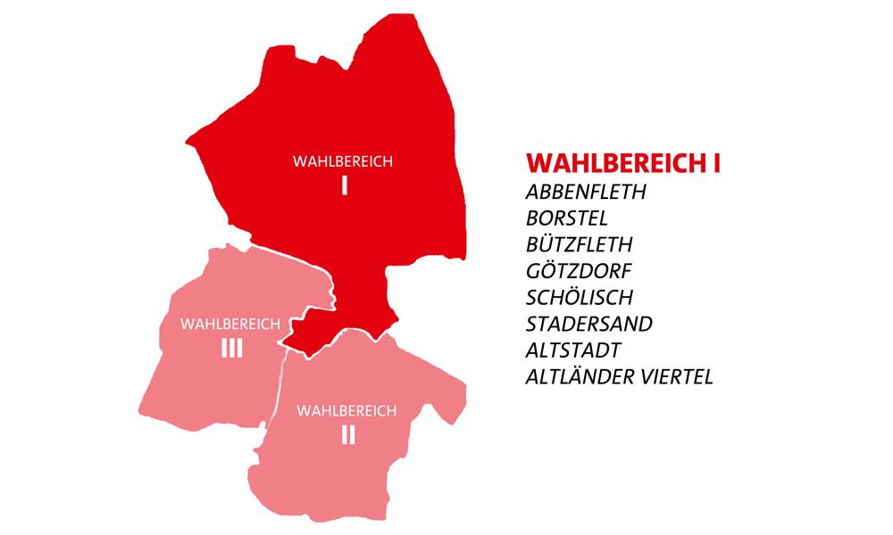 Pictogramm zu den Wahlbereichen in Stade - Wahlbereich 1 mit Abbenfleth, Borstel, Bützfleth, Götzdorf, Schölisch, Stadersand, Altstadt und Altländer Viertel