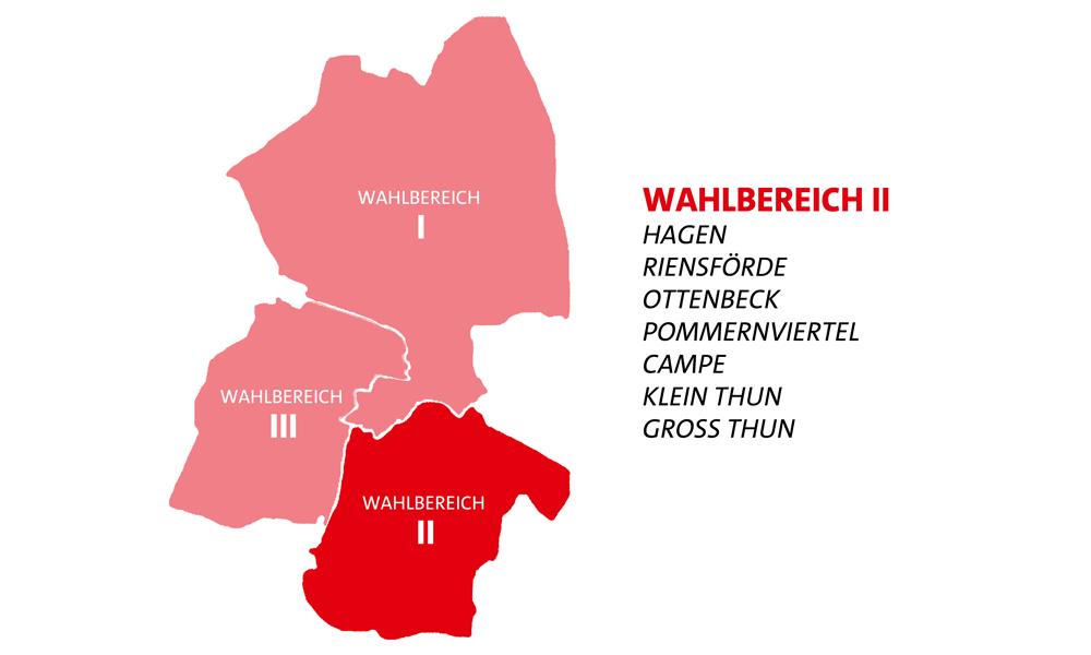Pictogramm zu den Wahlbereichen in Stade - Wahlbereich 2 mit Hagen, Riensförde, Ottenbeck, Pommernviertel, Campe, Klein Thun, Groß Thun