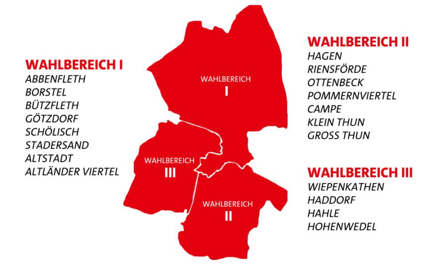 Wahlbereiche der Hansestadt Stade für die Kommunalwahl 2021