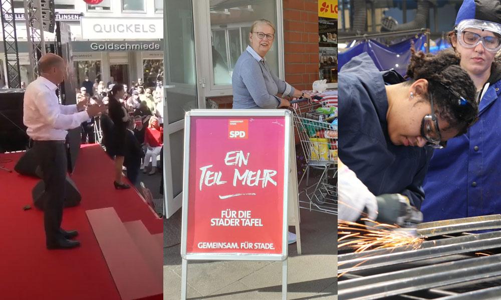"""Sozen-Sonntag 6: Olaf Scholz beim Wahlkampfauftakt in Bochum, Daniela Oswald bei der Spendenaktion """"Ein Teil mehr"""" für die Stader Tafel, Auszubildende im Metallbau"""