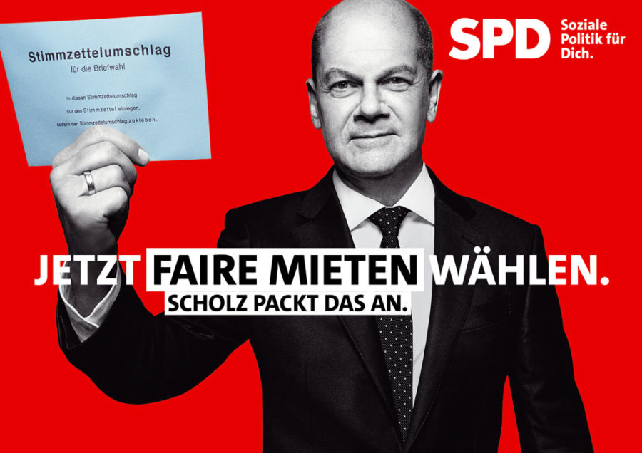"""Bundestagswahl 2021 - Plakat mit Olaf Scholz: """"Jetzt faire Mieten wählen. Scholz packt das an."""""""