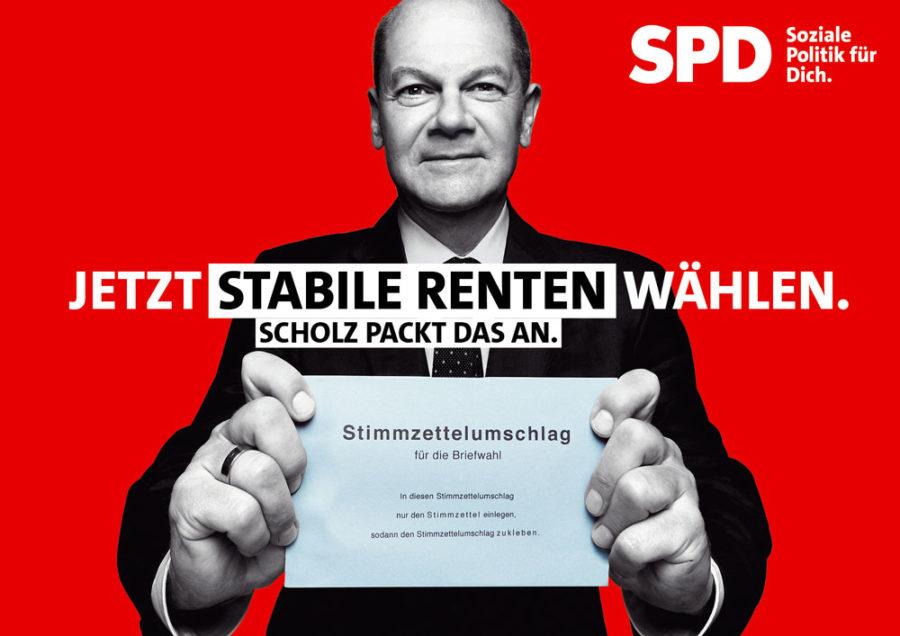 "Bundestagswahl 2021 - Plakat mit Olaf Scholz: ""Jetzt stabile Renten wählen. Scholz packt das an."""